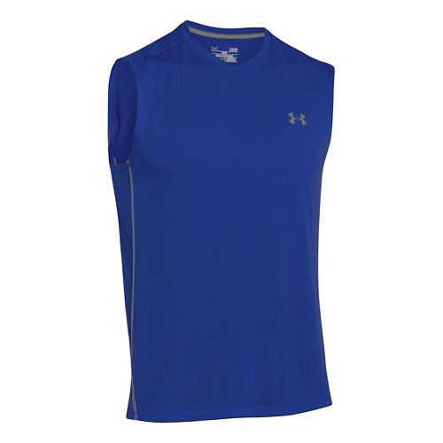 Mens Under Armour UA Tech T Sleeveless Technical Tops - Royal/Steel L