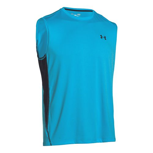 Mens Under Armour UA Tech T Sleeveless Technical Tops - Island Blues/Black S