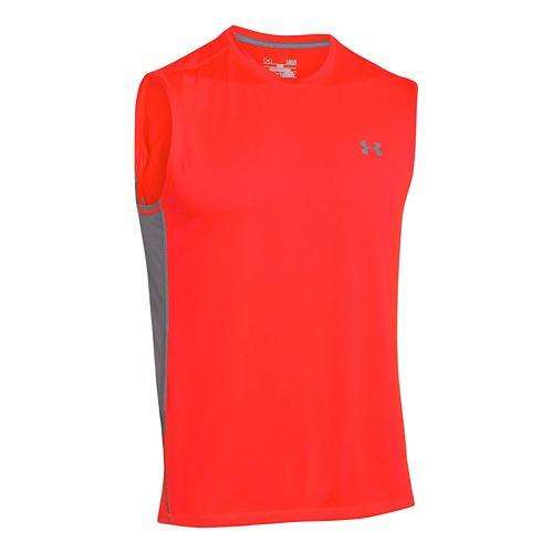 Mens Under Armour UA Tech T Sleeveless Technical Tops - Bolt Orange XL