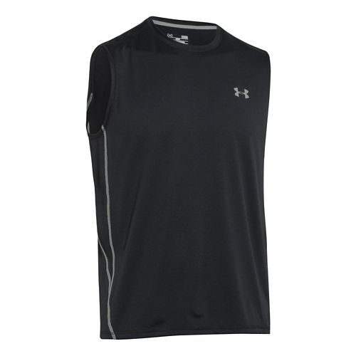 Mens Under Armour UA Tech T Sleeveless Technical Tops - Black/Steel XL
