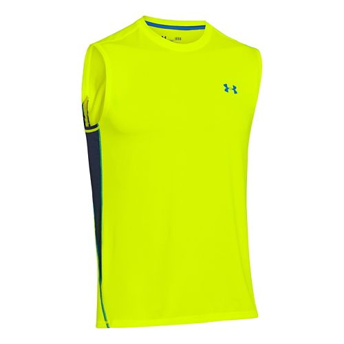 Mens Under Armour UA Tech T Sleeveless Technical Tops - Neon Yellow L