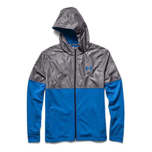 Mens Under Armour Light Weight Full Zip Jacket Warm-Up Hooded Jackets - Blue Jet/Graphite XXL ...