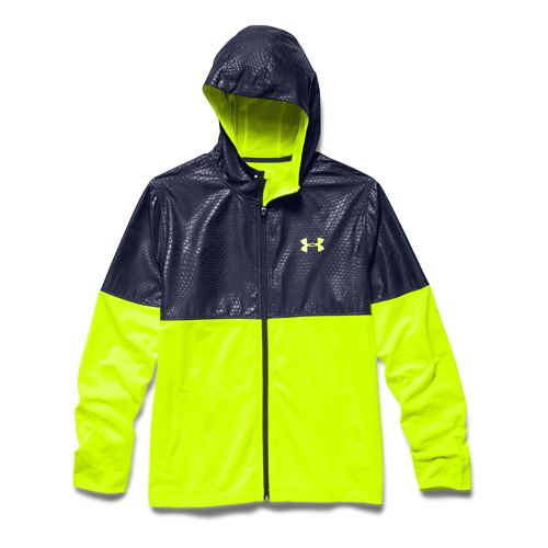 Mens Under Armour Light Weight Full Zip Jacket Warm-Up Hooded Jackets - High-Vis Yellow/Navy XL ...