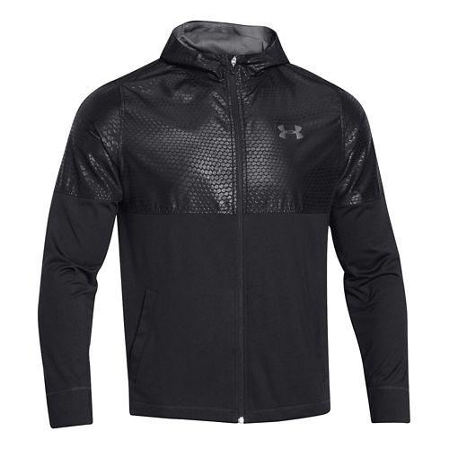 Mens Under Armour Light Weight Full Zip Jacket Warm-Up Hooded Jackets - Blue Jet/Graphite L ...