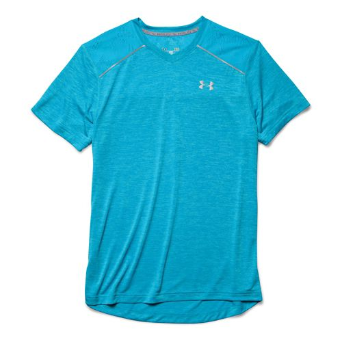 Mens Under Armour HeatGear Armourvent Launch T Short Sleeve Technical Tops - Island Blues L ...