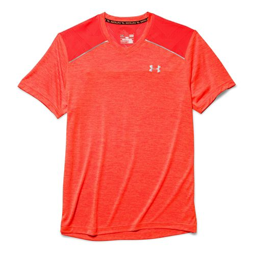 Mens Under Armour HeatGear Armourvent Launch T Short Sleeve Technical Tops - Bolt Orange XL ...