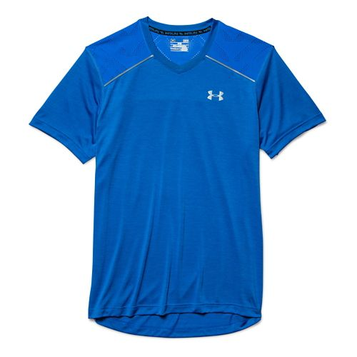 Mens Under Armour HeatGear Armourvent Launch T Short Sleeve Technical Tops - Jet Blue M ...