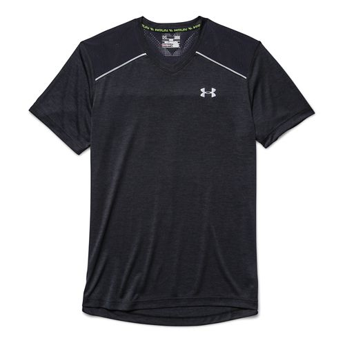 Mens Under Armour HeatGear Armourvent Launch T Short Sleeve Technical Tops - Midnight Navy M ...