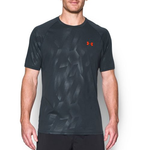 Mens Under Armour Tech Novelty Short Sleeve (Rattle print) Technical Tops - Stealth Grey L ...