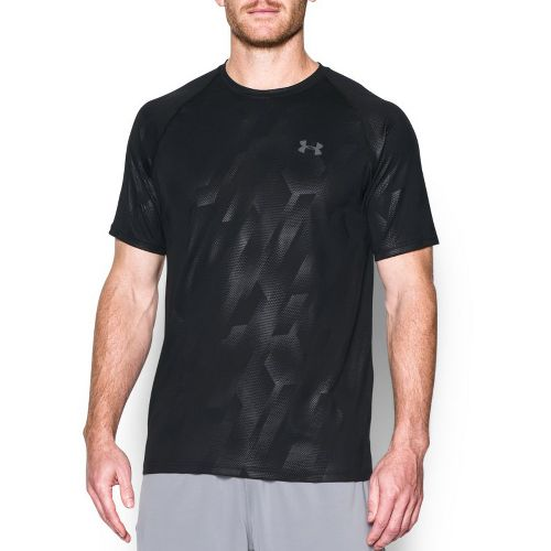 Mens Under Armour Tech Novelty Short Sleeve (Rattle print) Technical Tops - Black/Graphite XXL