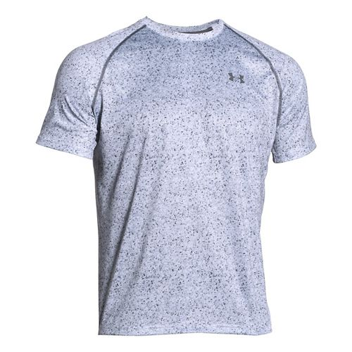 Mens Under Armour Tech Novelty Short Sleeve (Rattle print) Technical Tops - White/Graphite L