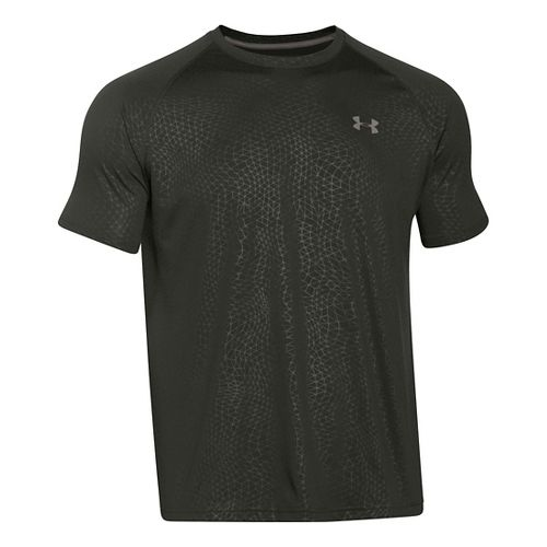 Mens Under Armour Tech Novelty Short Sleeve (rattle print) Technical Tops - Green/Tan Stone XL ...