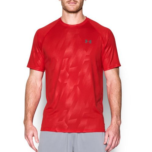 Mens Under Armour Tech Novelty Short Sleeve (Rattle print) Technical Tops - Red/Grey XL
