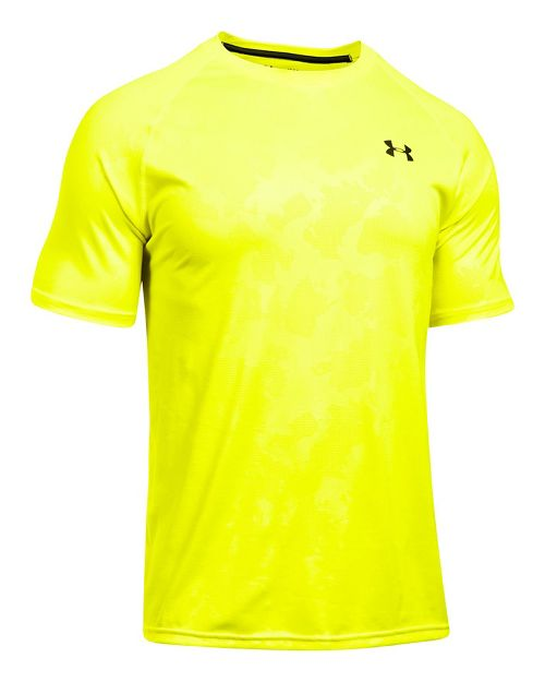 Mens Under Armour Tech Novelty Short Sleeve (Rattle print) Technical Tops - Bold Yellow L