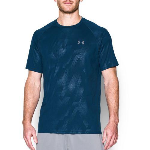 Mens Under Armour Tech Novelty Short Sleeve (Rattle print) Technical Tops - Blackout Navy XXL ...