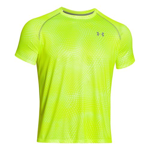 Mens Under Armour Tech Novelty Short Sleeve (rattle print) Technical Tops - Neon Yellow M ...