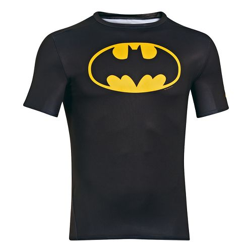 Mens Under Armour Alter Ego Compression Short Sleeve Technical Tops - Black/Taxi L