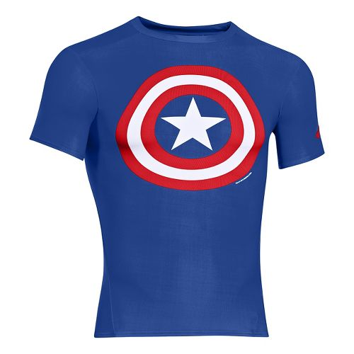 Mens Under Armour Alter Ego Compression Short Sleeve Technical Tops - Royal/White S