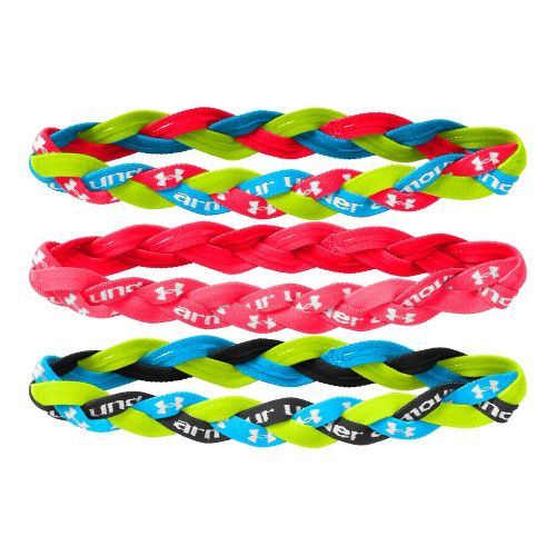 Womens Under Armour Braided Mini Headbands 3 pack Headwear - Neon