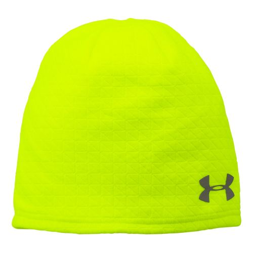 Mens Under Armour Emboss Run Beanie Headwear - High Viz