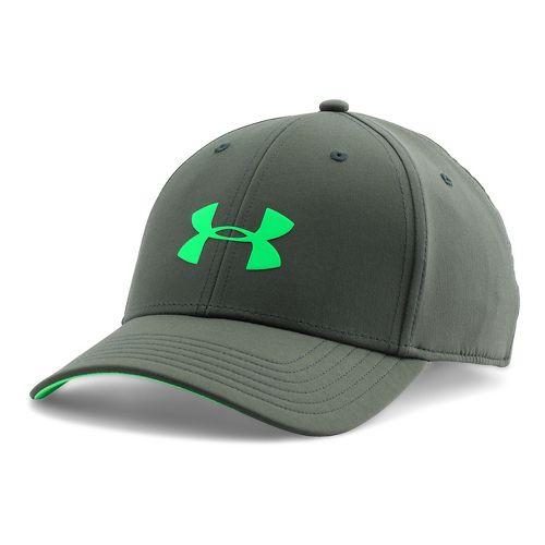 Mens Under Armour UA Headline Stretch Fit Cap Headwear - Combat Green M/L