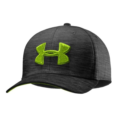 Mens Under Armour UA Low Crown Stretch Fit Cap Headwear - Carbon Heather/Hyper Green M/L ...