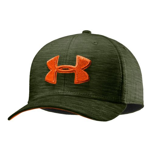 Mens Under Armour UA Low Crown Stretch Fit Cap Headwear - Rough/Outrageous Orange L/XL