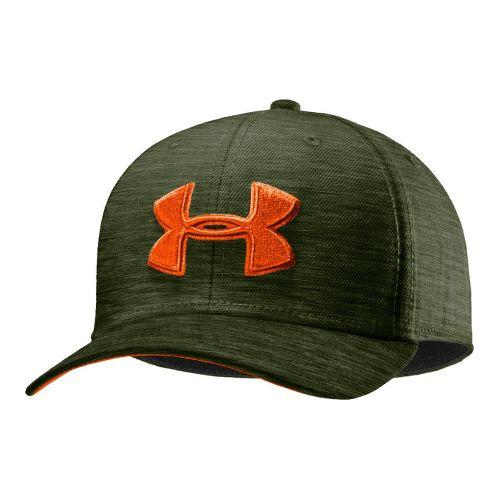 Mens Under Armour UA Low Crown Stretch Fit Cap Headwear - Rough/Outrageous Orange M/L
