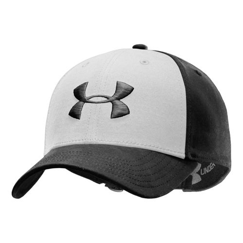 Mens Under Armour UA Washed Adjustable Cap Headwear - Black/White