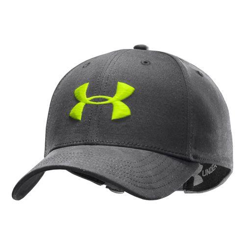 Mens Under Armour UA Washed Adjustable Cap Headwear - Graphite/Hi-Viz Yellow