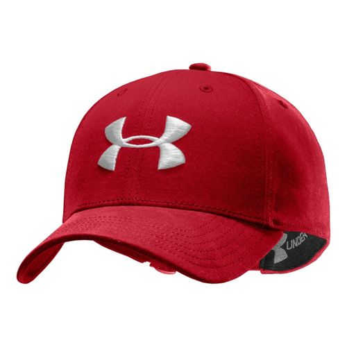 Mens Under Armour UA Washed Adjustable Cap Headwear - Red/White