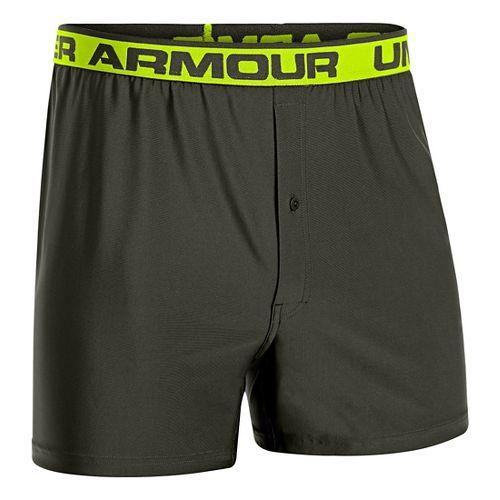 Mens Under Armour Original Boxer Underwear Bottoms - Rifle Green/Hi-Viz Yellow S