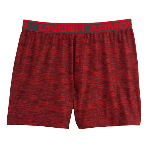 Mens Under Armour The Original Printed Boxer Underwear Bottoms - Risk Red/Charcoal XL
