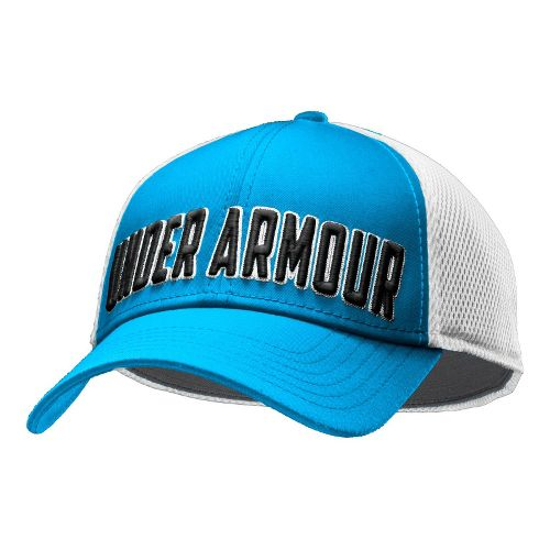 Mens Under Armour UA Stand Out Stretch Fit Cap Headwear - Electric Blue/Black M/L