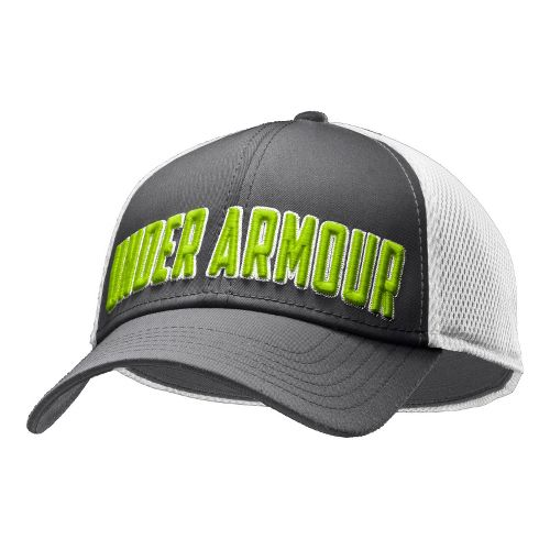 Mens Under Armour UA Stand Out Stretch Fit Cap Headwear - Graphite/White M/L