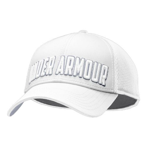 Mens Under Armour UA Stand Out Stretch Fit Cap Headwear - White/Atoll M/L