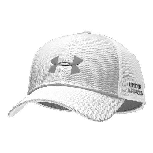 Mens Under Armour UA Classic Mesh Stretch Fit Cap Headwear - White/Graphite L/XL