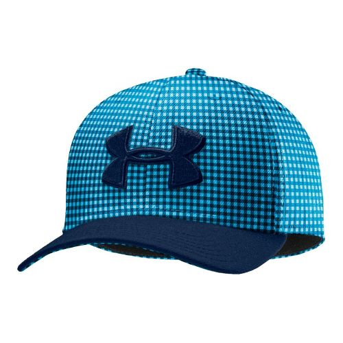 Mens Under Armour UA Low Crown Plaid Golf Cap Headwear - Academy/Electric Blue XL/XXL