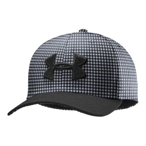 Mens Under Armour UA Low Crown Plaid Golf Cap Headwear - Black/Steel XL/XXL