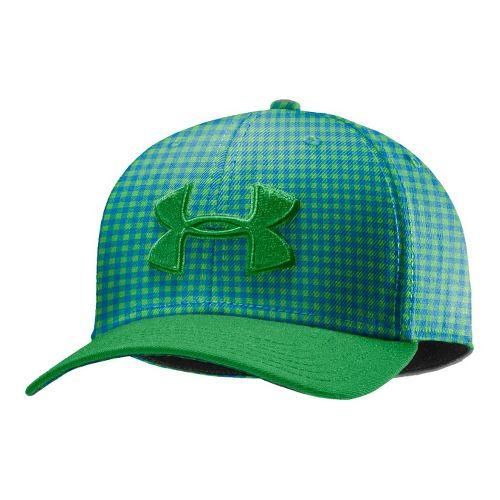 Mens Under Armour UA Low Crown Plaid Golf Cap Headwear - Feisty/Superior Blue M/L