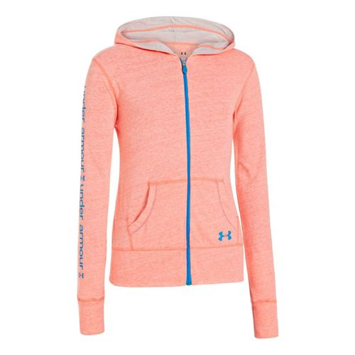 Kids Under Armour Girls Triblend Full Zip Hoody Running Jackets - Brilliance/Silver Heather L