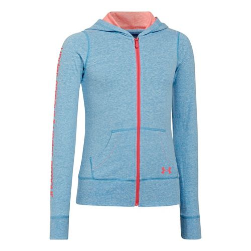 Kids Under Armour Girls Triblend Full Zip Hoody Running Jackets - Electric Blue/Brilliance L