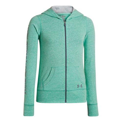 Kids Under Armour Girls Triblend Full Zip Hoody Running Jackets - Emerald Lake/Silver Heather S ...