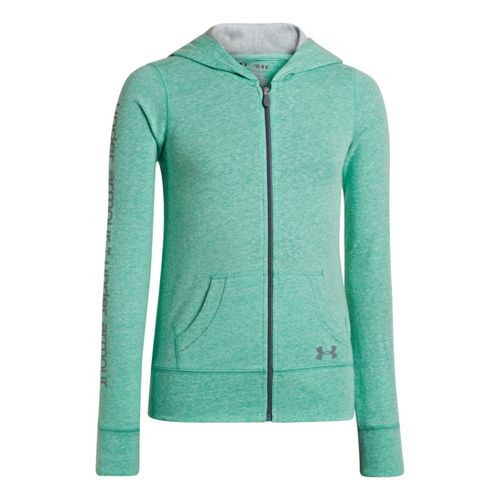 Kids Under Armour Girls Triblend Full Zip Hoody Running Jackets - Emerald Lake/Silver Heather ...