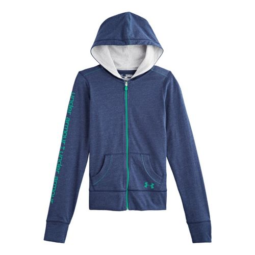 Kids Under Armour Girls Triblend Full Zip Hoody Running Jackets - Heather Jean/Silver Heather L ...