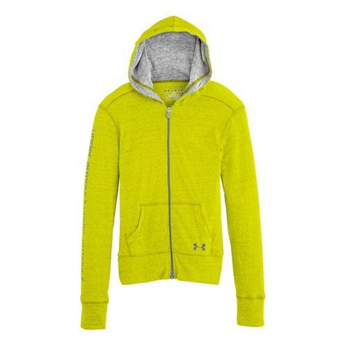 Kids Under Armour Girls Triblend Full Zip Hoody Running Jackets - High Vis Yellow/Steel XL ...