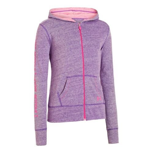 Kids Under Armour Girls Triblend Full Zip Hoody Running Jackets - Pride/Chaos XS