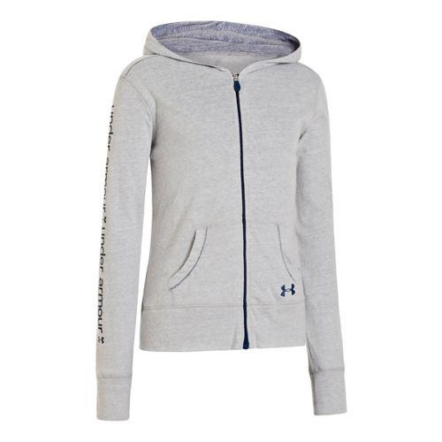 Kids Under Armour Girls Triblend Full Zip Hoody Running Jackets - Silver Heather/Heather Jean L ...