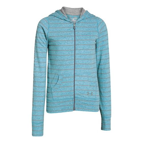 Kids Under Armour Girls Triblend Full Zip Hoody Running Jackets - Teal Ice/Steel M