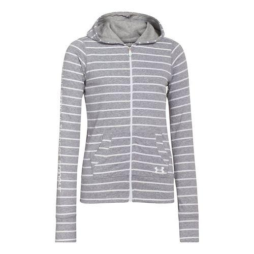 Kids Under Armour Girls Triblend Full Zip Hoody Running Jackets - True Grey Heather XS ...